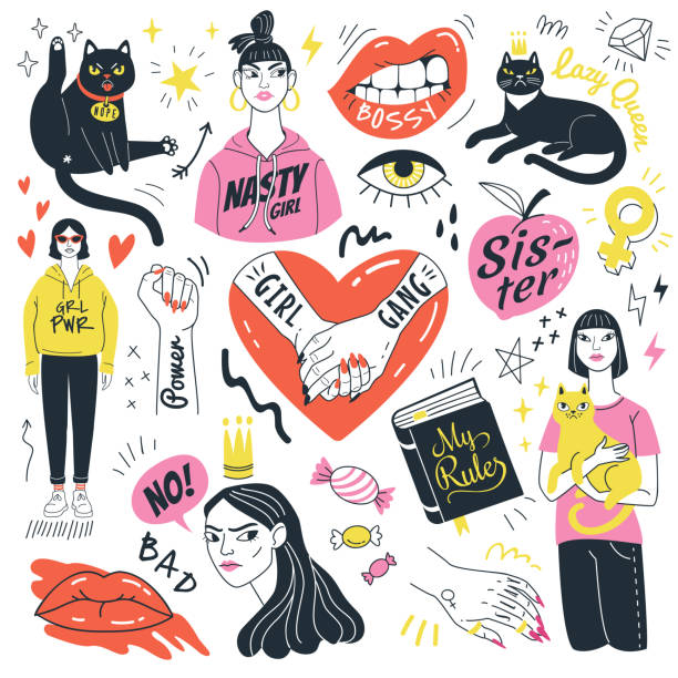 Girls and cats collection. Vector illustration of feminist symbols, girls and funny angry cats in doodle style. Isolated on white background. youth culture stock illustrations