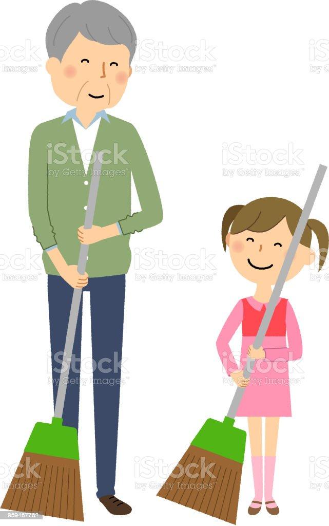 Girls and elderly men, Sweeping up vector art illustration