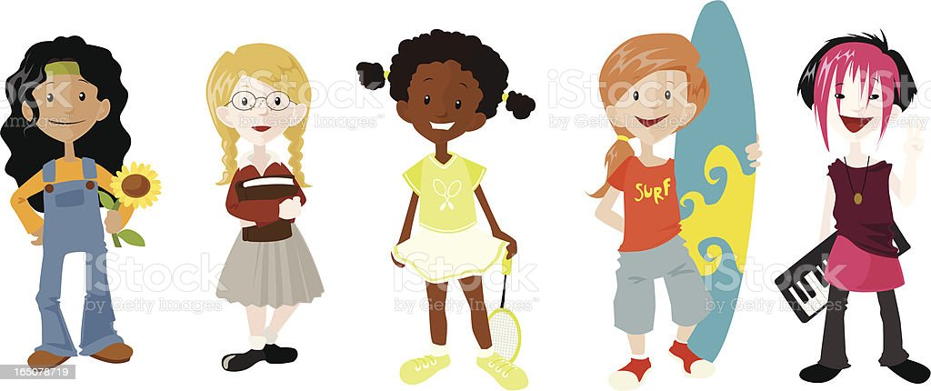 Girls And Their Hobbies royalty-free stock vector art