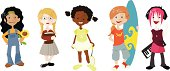 A multi-ethnic group of girls, each featuring a different character, hobby etc.