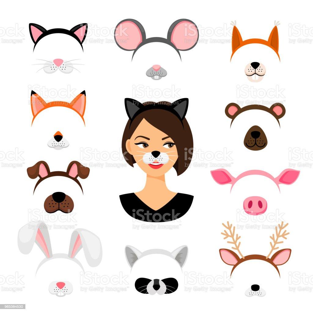 Girls animals masks set girls animals masks set - stockowe grafiki wektorowe i więcej obrazów biały royalty-free