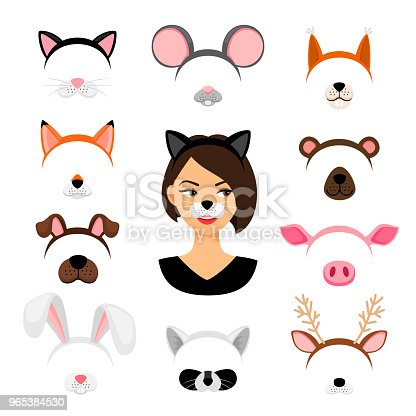 Girls animals masks. Vector female animal face mask set isolated on white background, like cat and dog, raccoon and pig