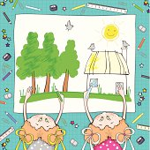 Girls are drawing the summer rural landscape.