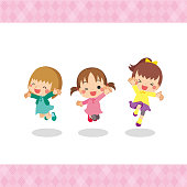 Illustration of smiling girls are jumping in autumn clothes.