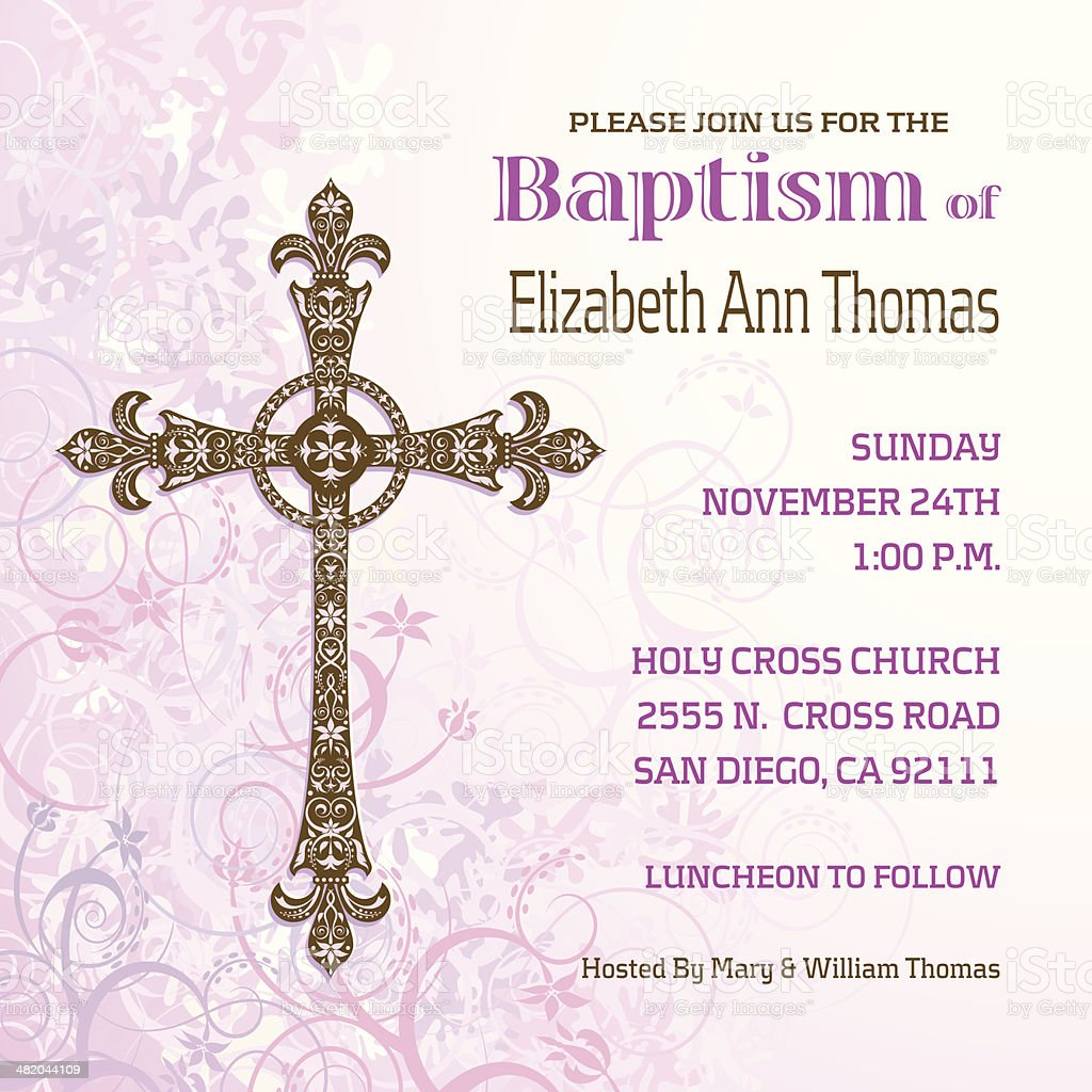 Girls Baptisim Invitation vector art illustration