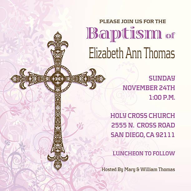 girls baptisim invitation - christening stock illustrations, clip art, cartoons, & icons