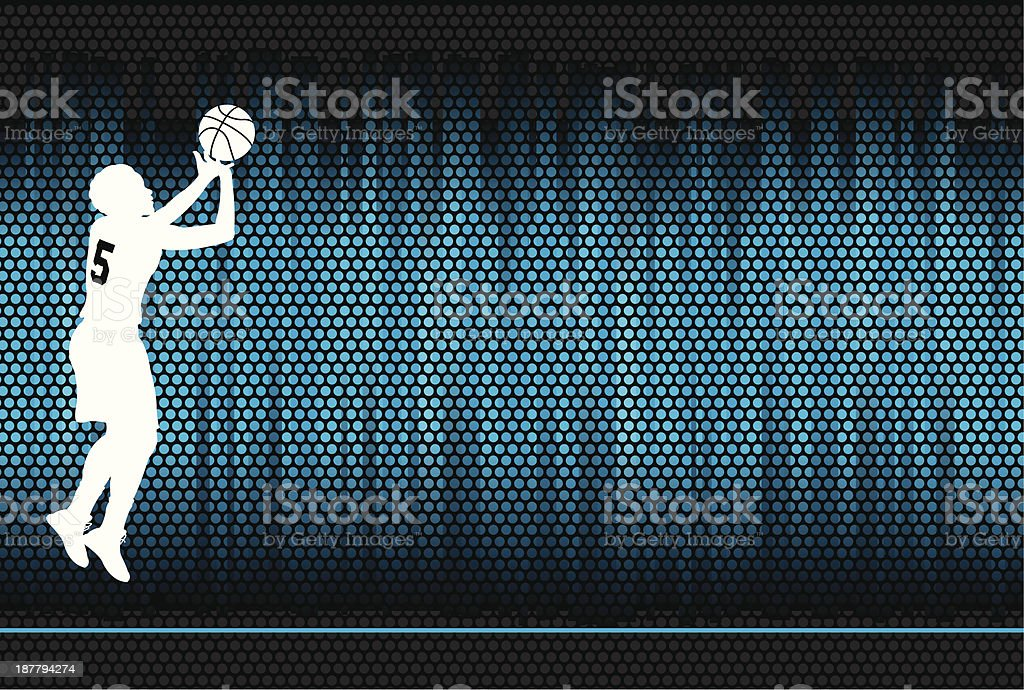 Graphic background illustration of a girls basketball player doing a...