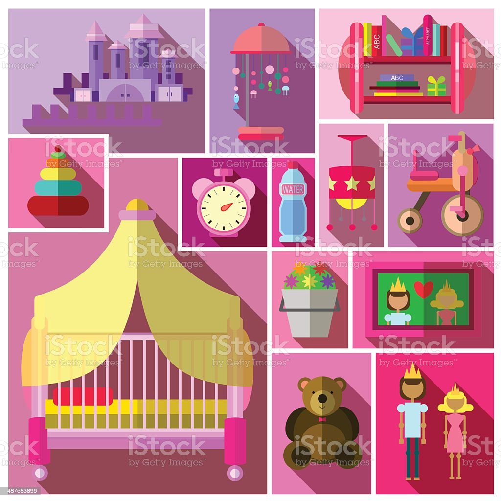 Picture of: Girls Bedroom Furniture Sets Shades Of Pink Stock Illustration Download Image Now Istock