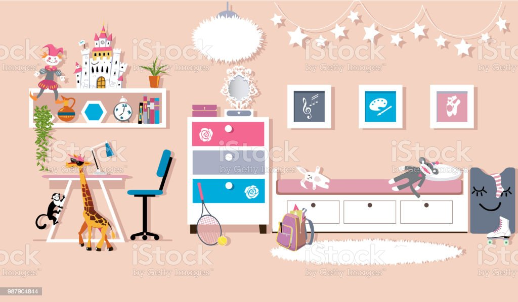 Image of: Girls Bedroom Stock Illustration Download Image Now Istock