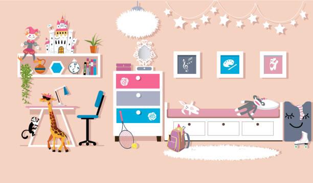 Girl's bedroom Interior of a cute girl's bedroom, flat vector design, EPS 8, no transparencies girl bedroom stock illustrations