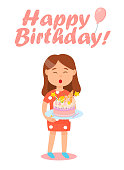 Girl`s Birthday Celebration with Pink Tasty Cake.
