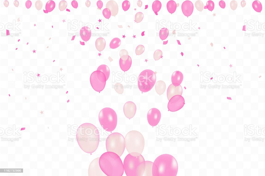 Girl\'s birthday. Happy Birthday Background With pink Balloons And...