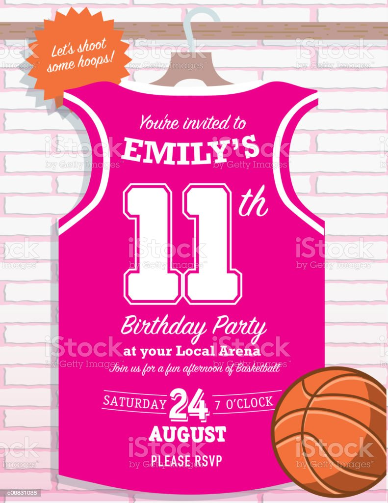 Girls Birthday Party Basketball Jersey Themed Invitation Design ...