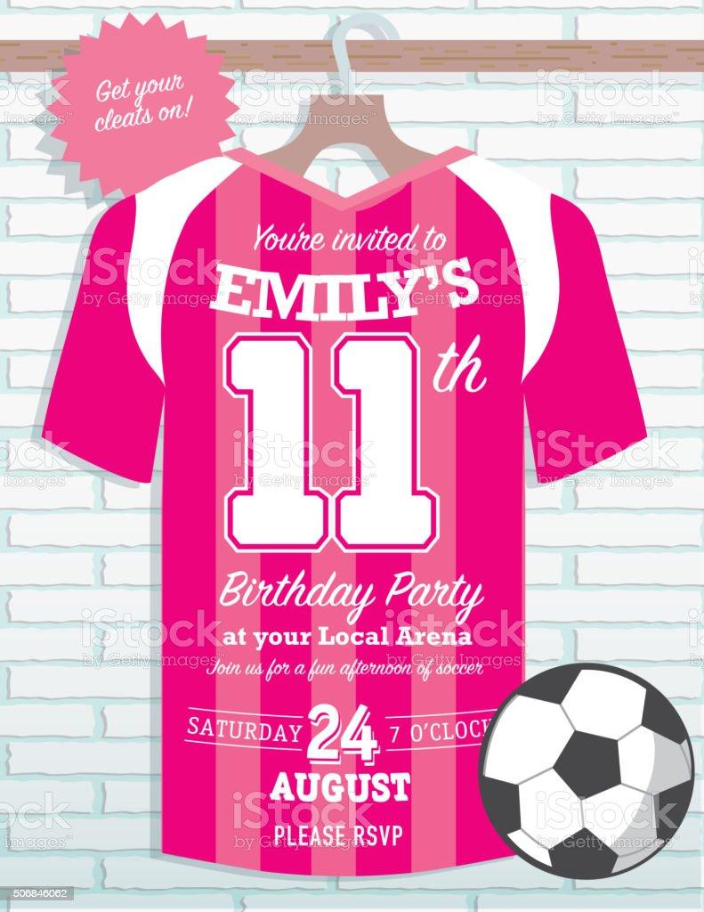 Girls Birthday Party Soccer Jersey Themed Invitation Design Stock