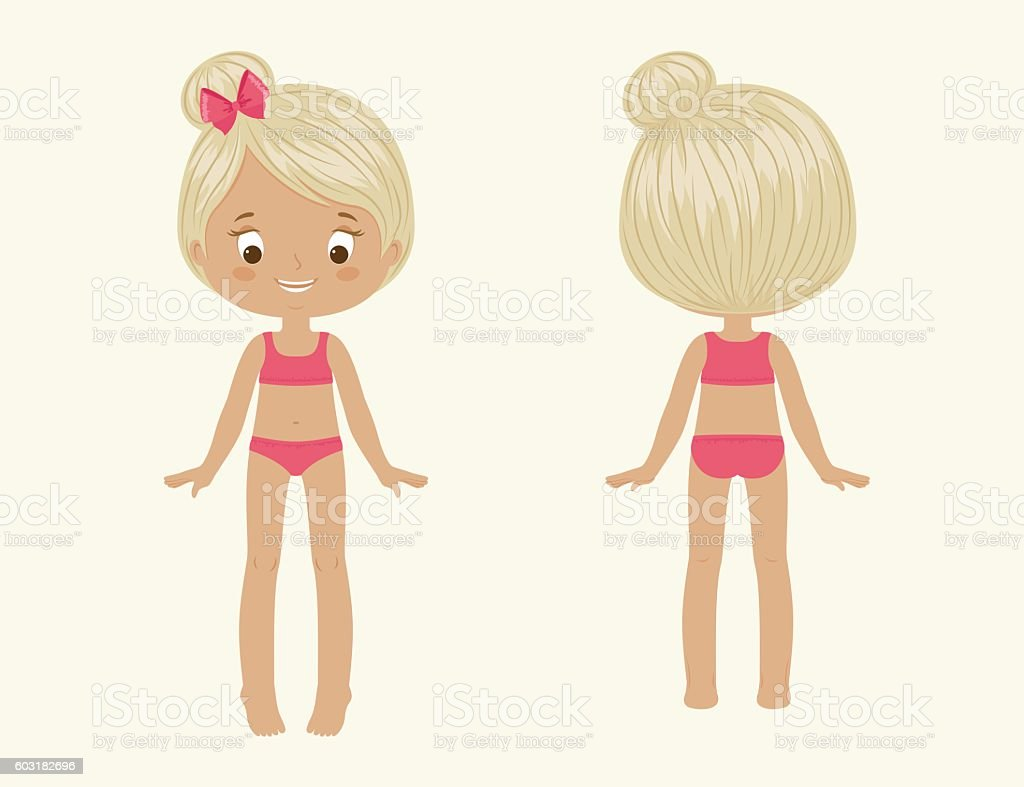 Girls Body Front And Back Stock Vector Art & More Images of Anatomy ...