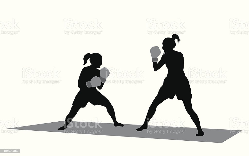 Girls Boxing Vector Silhouette royalty-free stock vector art
