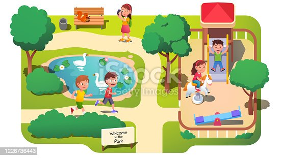 istock Girls & boys kids taking photos, running & having fun in park with pond. Children playing in park playground with horse spring rider toy, slide & seesaw. Childhood & leisure. Flat vector illustration 1226736443