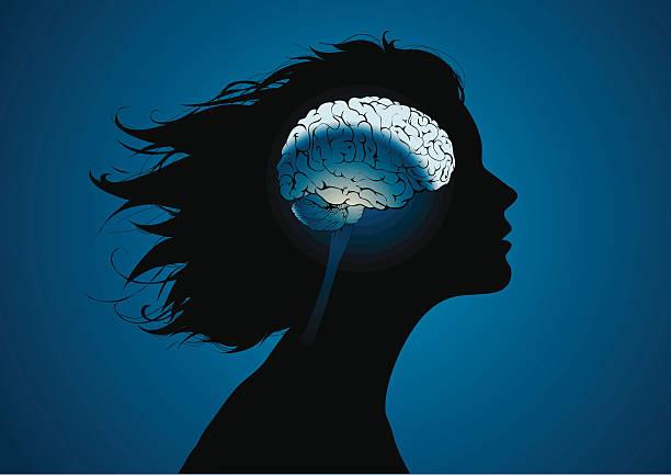 Girls brains vector art illustration