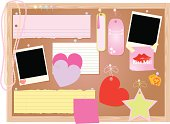 A selection of girly notes, photos, pieces of paper, and souvenirs. Gradients were used. Extra large JPG, thumbnail JPG, and Illustrator 8 compatible EPS are included. Each item is grouped separately for easy rearranging or editing.