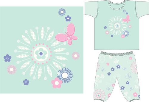 Girls Butterfly T-Shirt & Pant Set
