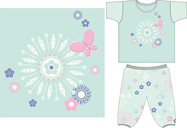 mädchen & schmetterling-t-shirt hose im set - pastellhosen stock-grafiken, -clipart, -cartoons und -symbole