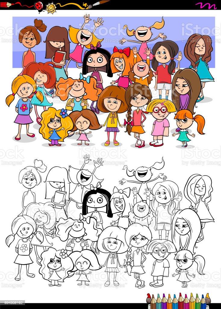 Ilustración de Libro De Colorear De Chicas Personajes Grupo y más ...
