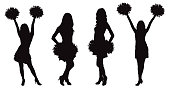 Girls cheerleading dancer with pompoms, silhouette. Vector illustration