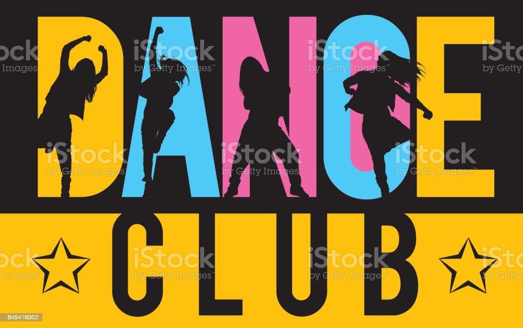 Girls dancing modern dance styles inside lettering dance club vector art illustration