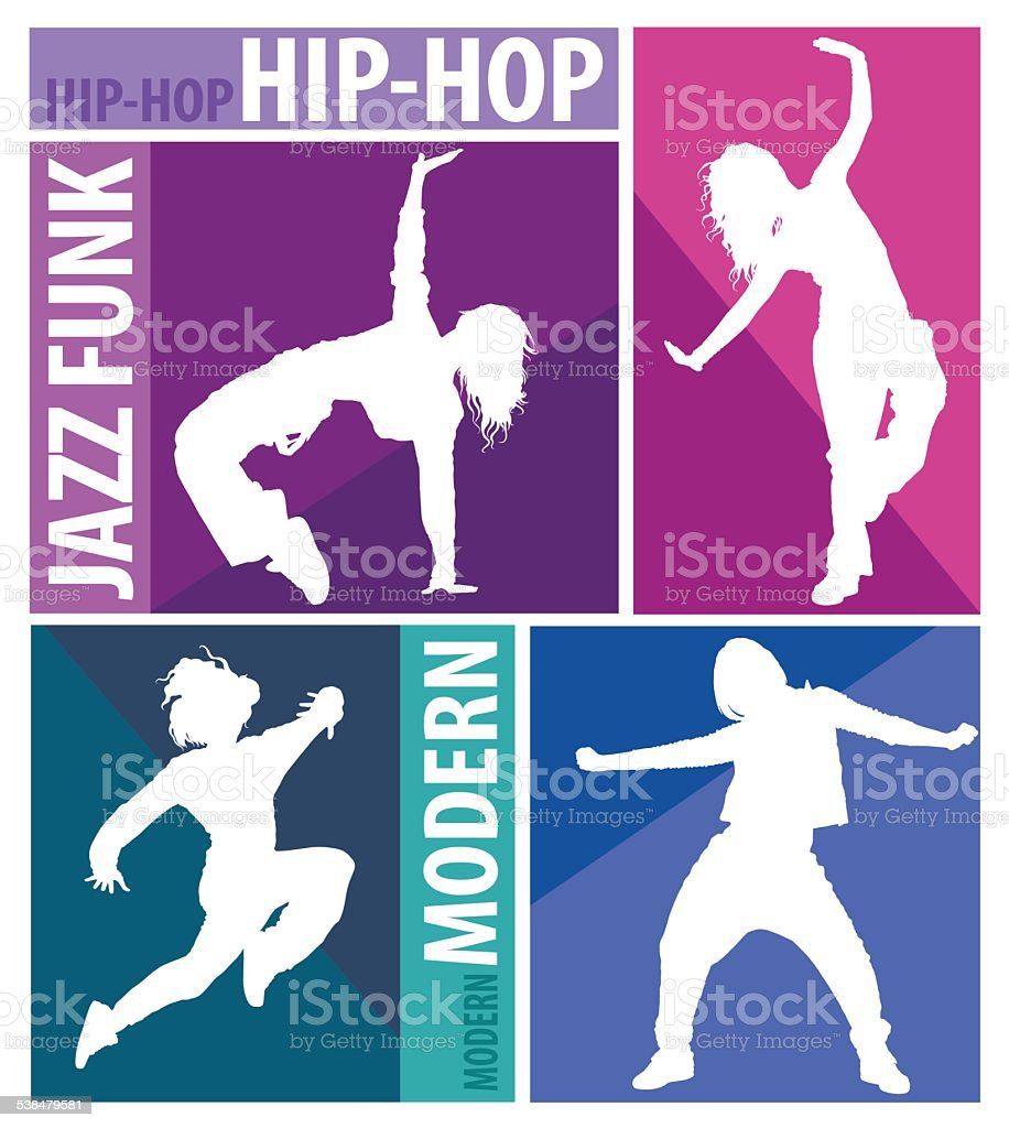 Girls dancing modern dance styles vector art illustration