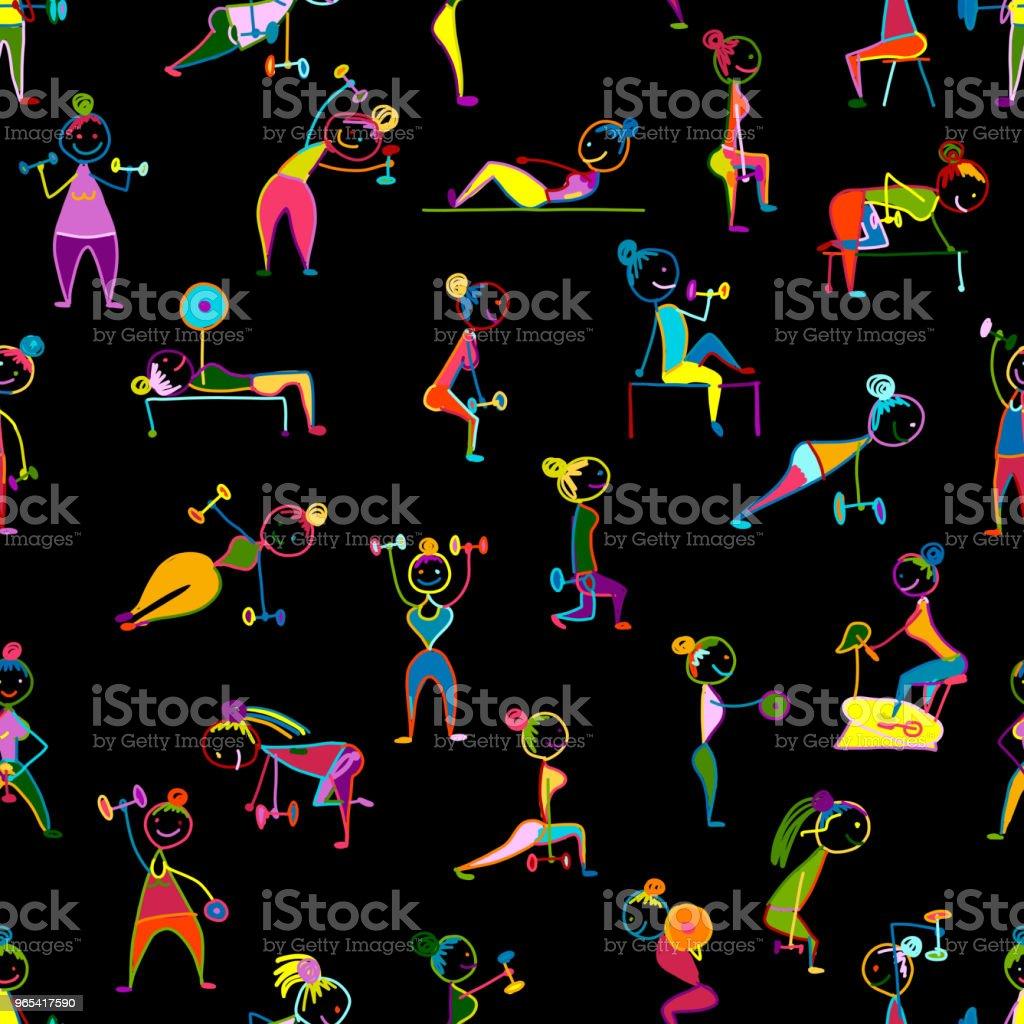 女孩做運動鍛煉, 無縫模式為您設計 - 免版稅卡通圖庫向量圖形