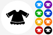Girl's Dress Shirt Icon on Flat Color Circle Buttons