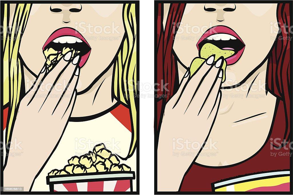 Girls eating snacks royalty-free stock vector art