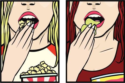 Girls eating snacks