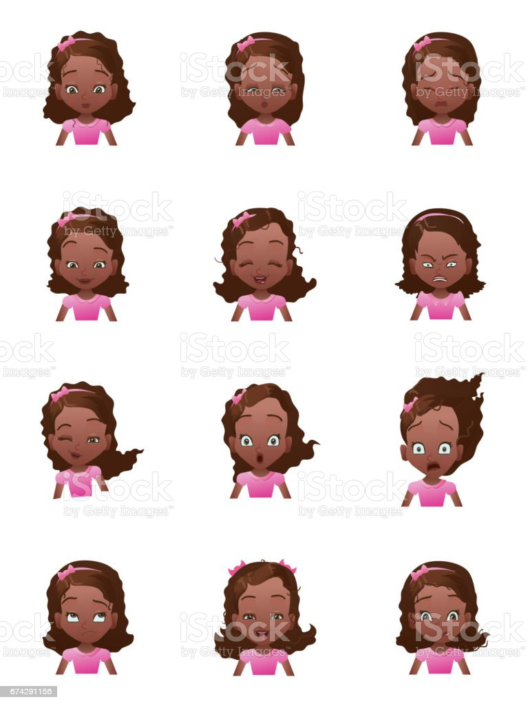 girls emotions faces vector set with cartoon female emoji icons