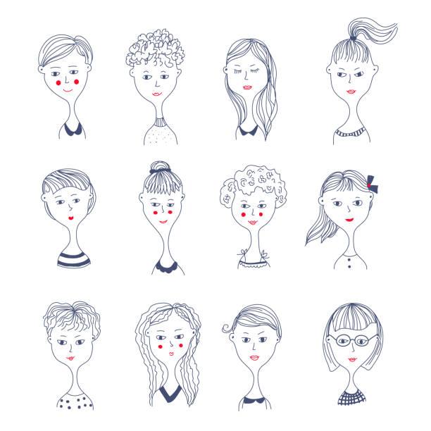 女の子顔アバター設定の図 - 女性 笑顔点のイラスト素材/クリップアート素材/マンガ素材/アイコン素材