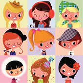 Girls Faces Collection_I.