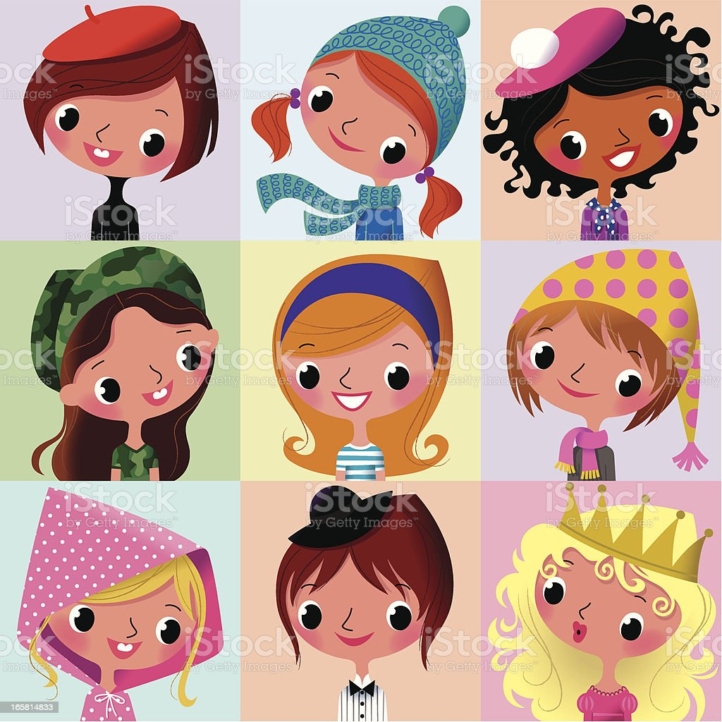 Girls Faces Collection_II. royalty-free girls faces collectionii stock vector art & more images of adolescence