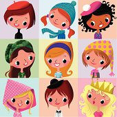 Cartoon Portraits of Girls.