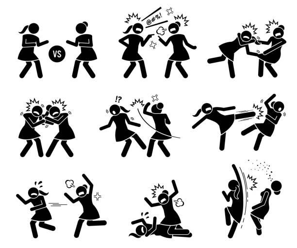 ilustrações de stock, clip art, desenhos animados e ícones de girls fighting in a cat fight stick figure. - puxar cabelos