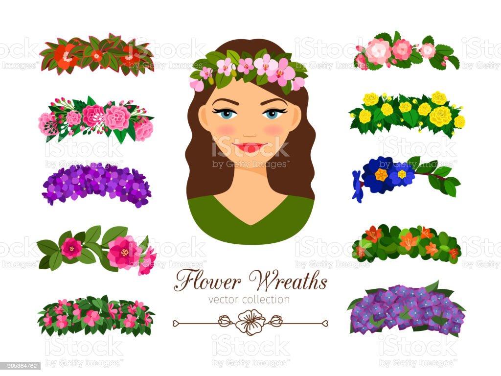 Filles de couronnes de fleurs - clipart vectoriel de Accessoire libre de droits