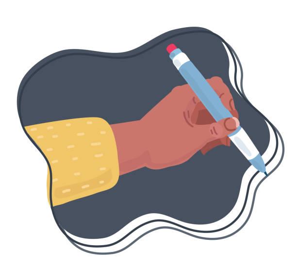 illustrazioni stock, clip art, cartoni animati e icone di tendenza di girl's hand writes line. - mancino
