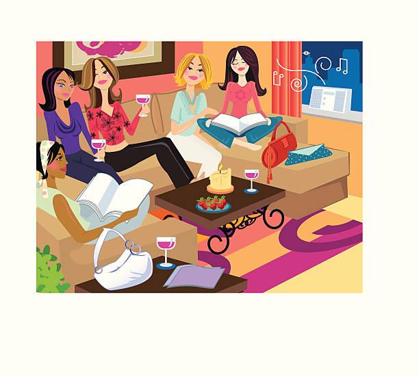 stockillustraties, clipart, cartoons en iconen met girls hanging - woman home magazine