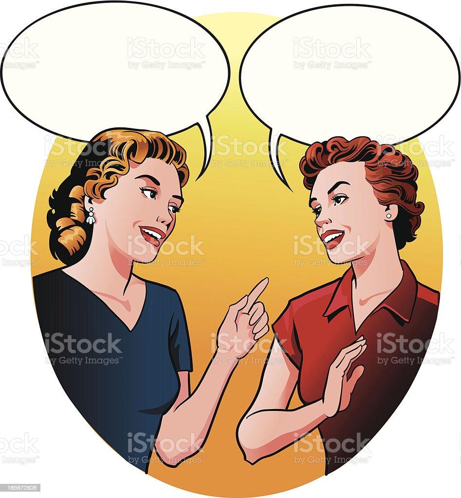 Girls Having a Friendly Talk royalty-free stock vector art