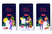 girls holding candy lollipop near christmas drink mulled wine winter holidays celebration concept smartphone screens set online mobile app full length greeting card horizontal vector illustration