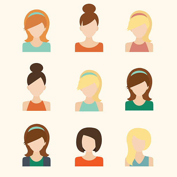 girls icons set - business casual fashion stock illustrations