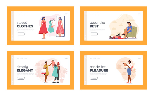 Girls in Apparel Mall Landing Page Template Set. Young Stylish Women Choose New Fashioned Dress, Bag and Shoes in Store