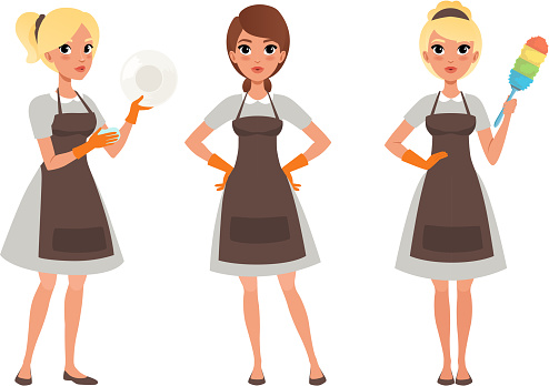 Girls in Apron Doing Housework, Young Women in Uniform Cleaning Home, Cleaning Company Service Cartoon Style Vector Illustration