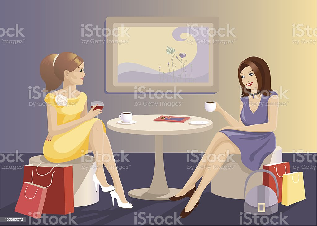 Girls in cafe after shopping royalty-free stock vector art