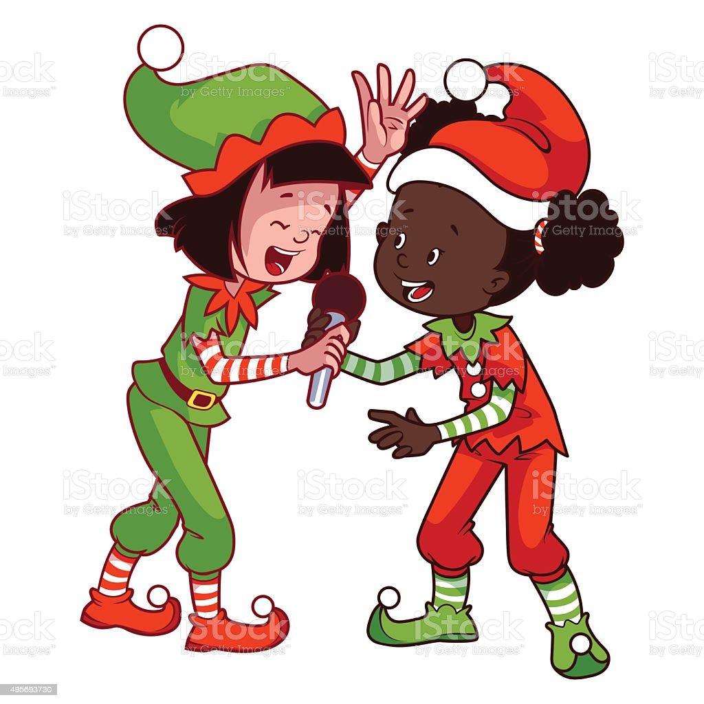 Mädchen In Weihnachten Kleid Singen Mit Mikrofon Stock Vektor Art ...