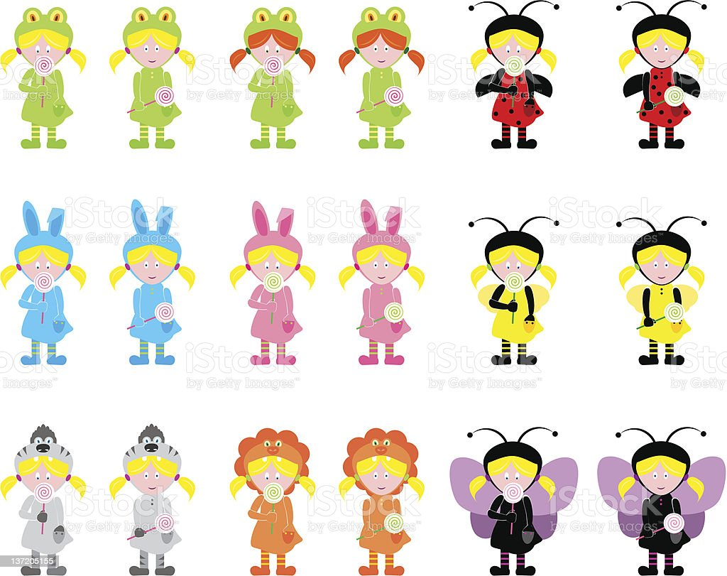 Girls in costumes royalty-free stock vector art